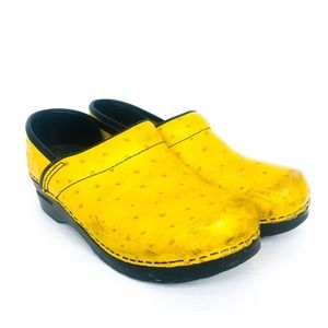 DANSKO Yellow Leather Ostrich Clog 8